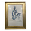 mid th century abstract figurative pastel drawing framed